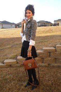 simple yet lovely workout fit | white button down w/ blazer & black skirt with black tights & mini boots