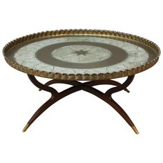 Incroyable Large Round Vintage Brass Tray Coffee Table On Midcentury Folding Spider  Base