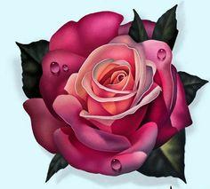 Rose Drawing Tattoo, Realistic Rose Tattoo, Flower Tattoo Designs, Flower Designs, Rose Tattoos, Flower Tattoos, Tattoo Studio, Venus Tattoo, Rose Reference