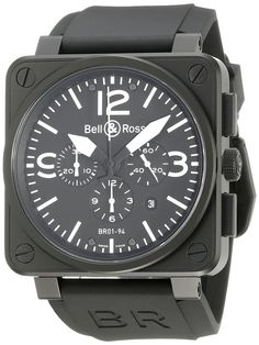 Amazon.com: Bell & Ross Men's BR-01-94-CARBON Aviation Black Chronograph Dial Watch Watch: Bell & Ross: Watches
