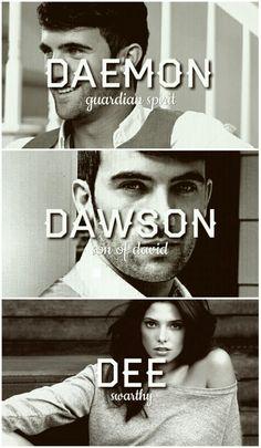 Daemon, Dawson and Dee Black #lux #luxen Jennifer Armentrout