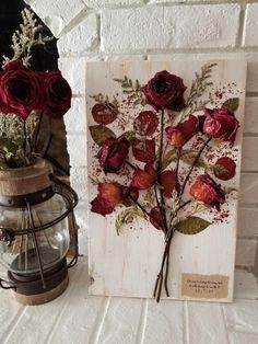 Pressed Flower bouquet by Petal Press Decor using red roses from the day the gro… – Preserved Roses Rose Petals Craft, Dried Rose Petals, Dried Flowers, Rose Flowers, Pressed Roses, Pressed Flower Art, Flower Shadow Box, Flower Frame, Art Floral