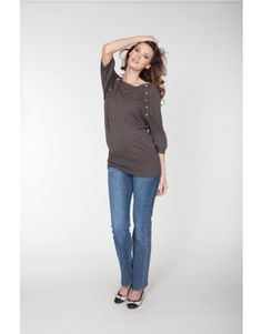 @Seraphine Maternity Nessa Knitted Bamboo Brown Sweater  #maternity #fashion #pregnancy #style #minefornine