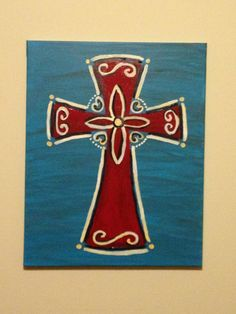 DIY canvas painting of cross