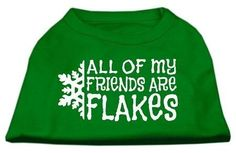 Mirage Pet Products 14-Inch All My Friends are Flakes Screen Print Shirts for Pets, Large, Emerald Green ** For more information, visit now : Cat Apparel