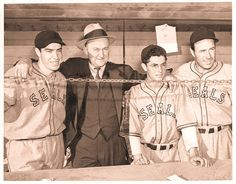Joe DiMaggio, Ty Cobb, Dom DiMaggio and Lefty O'Doul hanging out at San Francisco's Seals Stadium in October of 1937.