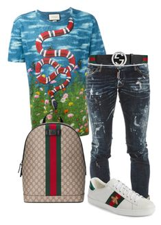 """Untitled #7"" by madcowmc on Polyvore featuring Gucci, Dsquared2, men's fashion and menswear"