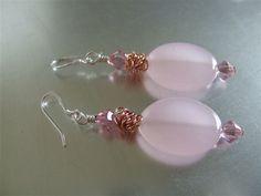 Rose Quartz n Copper Earrings by joanne79 on Etsy, $18.00