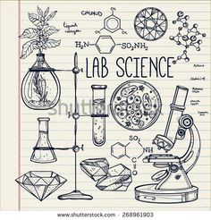 Hand drawn vintage laboratory icons sketch. Vector illustration. Medieval lab. Science lab objects doodle style sketch,Back to school. Alchemy and vintage medieval science. Note book page paper.