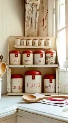 old time canister and spice set