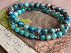 Stacking bracelets Set of 2 Semi-precious Imperial by BlazonSpirit Turquoise Necklace, Beaded Necklace, Beaded Bracelets, Stacking Bracelets, Jasper Stone, Silver Beads, Bracelet Set, Stretch Bracelets, Shells
