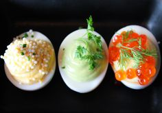 Comme Ça serves up Three French Devils, three different takes on the traditional deviled eggs. After all, three is better than two.