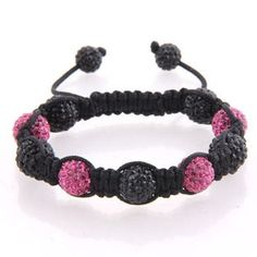 Pink and black crystal bead Shamballa on black cord with black crystal end beads.