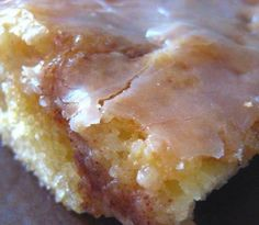 Honey Bun Cake!  1 yellow cake mix 1 cup brown sugar 2 cups powdered sugar 3/4 cup oil 1 Tablespoon cinnamon 4 Tablespoons milk 4 eggs 1 Tablespoon vanilla extract 8 oz sour cream  Mix cake mix, oil, eggs, and sour cream by hand, about 50 strokes. Put half the batter in 9 x 13 pan. Combine brown sugar and cinnamon and spread over entire cake. Spread the rest of the batter on top of this. Use a knife to make swirls in the cake. Bake at 325 degrees for about 40 minutes. Blend powdered sugar…