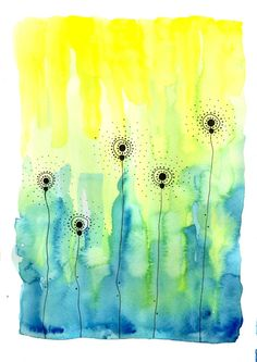 "Original Watercolor Painting - Abstract Dandelions 1 - A4 (8.3x11.7"") One of a Kind Aquarelle Painting"
