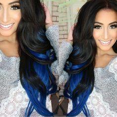 Blue and black ombre hair Love Hair, Great Hair, Gorgeous Hair, Amazing Hair, Blonde Ombre Hair, Purple Hair, Grey Balayage, Pelo Multicolor, Lipgloss