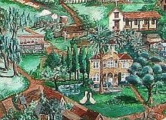 This is a section of Claudia Wagars Valley of the Moon painting, located at the front entrance to The Mercato shopping area along historic Sonoma Plaza.