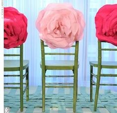 Oversized felt flowers for chair decorations