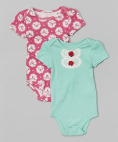 Loving this Baby Starters Turquoise Lace & Hot Pink Floral Bodysuit Set - Infant on #zulily! #zulilyfinds