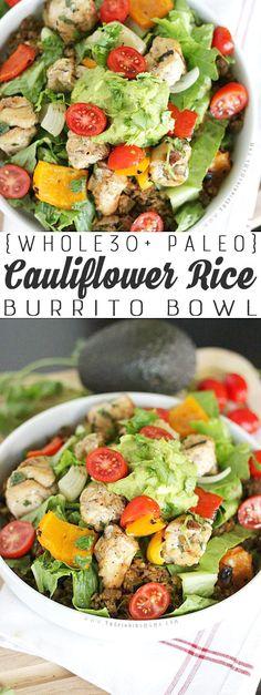 The best Whole30 Recipe YET! Fajita Burrito Bowls made with mexican cauliflower rice. Paleo, gluten free, dairy free
