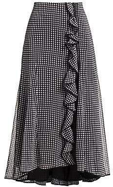 Jonathan Simkhai Womens Gingham Ruffle Side Slit Maxi Skirt - Maxi Skirts - Ideas of Maxi Skirts Modest Fashion, Fashion Outfits, Modest Skirts, Maxi Skirts, Gingham Skirt, Skirt Patterns Sewing, Blouse And Skirt, African Fashion Dresses, Skirt Outfits