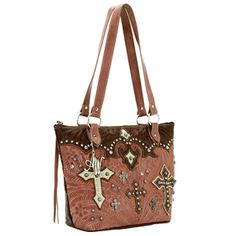 Ponderosa Tooled Antique Rose and Earth Colored Leather Zip-top Bucket Tote Handbag