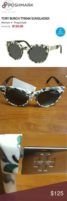 Tory Burch Batik Tropical sunglasses NEW BATIK NEUTRAL-SILVER / DARK GREY SOLID LENS (153787) TY9044 Features Composite frame glass lens non-polarized Lens width: 52mm mm Lens height: 47.1 mm Bridge: 21 mm Arm: 135 mm  Comes with case and cloth pouch CUSTOMER RETURN 1 mm scratch to right lense....not noticeable when worn NO TRADES NO LOWBALL OFFERS NO NEGOTIATING OVER COMMENT, USE OFFER BUTTON Tory Burch Accessories Sunglasses