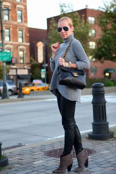 Dress Down Friday via BrooklynBlonde.com / @brooklynblonde  Sweater: Zara, Pants: Zara, Booties: Belle by Sigerson, Sunglasses: Ray Ban, Bracelets: Cara Spiked, Giles & Brother Hook Cuff, Michael Kors, J Crew Friday, October 19, 2012