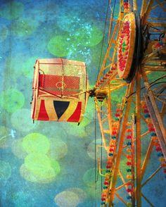 Colorful carnival photo blue green amusement ride home decor wall art - Summer fun 8 x 10