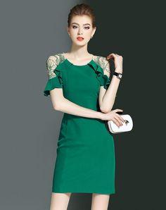 #AdoreWe #VIPme (VIPSHOP Global) Womens - LONYUASH Green Ruffle Illusion Sleeve Sheath Mini Dress - AdoreWe.com