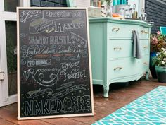 DIY: Hand-Lettered Party Menu | HGTV >> http://www.hgtv.com/design/make-and-celebrate/entertaining/hand-lettered-chalkboard-menu?soc=pinterest