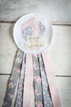 First  Birthday Rustic Shabby Chic Rosette Badge by mileyandmoss, £4.50