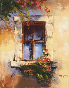 A Tuscany Window ~ Painting by Maria Gibbs - Tuscan Window Fine Art Prints . Art Texture, Art Watercolor, Window Art, Window Poster, Beautiful Paintings, Modern Art Paintings, Paintings Of Nature, Awesome Paintings, Artwork Paintings