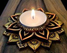 Lotus Mandala Meditation Tea Light Candle by LaughingBuddahArt