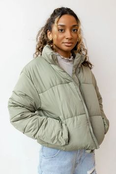 Green Puffer Jacket, Puffy Jacket, Puffer Coats, Women's Puffer, Girly Outfits, Fashion Outfits, Layering Outfits, Cute Jackets, Shopping
