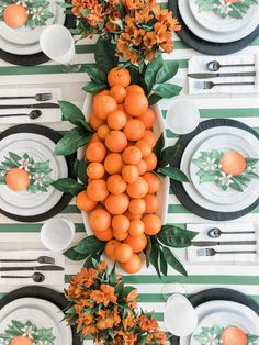 Decorating in-between seasons can be done with a few versatile pieces: here& how I created a green and orange table in between summer and fall. Orange Table, Green Table, Handmade Home, Orange Party, Fall Table, Thanksgiving Table, Orange Aesthetic, Dinner Table, Green And Orange
