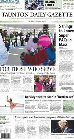 The front page of the Taunton Daily Gazette for Monday, Dec. 12, 2016.