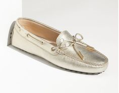 Tods Womens Fashionable Casual Leather Shoes Gold                            ------I love this color so much