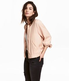Check this out! Jacket in soft, crinkled satin with a small stand-up collar. Zip at front, diagonal welt pockets, and wide elastication at cuffs and hem. Unlined. - Visit hm.com to see more.