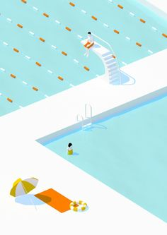 Best 25 digital illustration ideas on pinterest digital for Pool design graphic