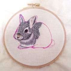 Bunny embroidery with needlepainting technique.