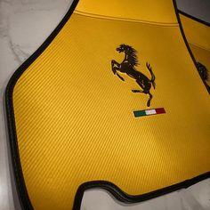 ferrari 430 black and yellow interior floor mats