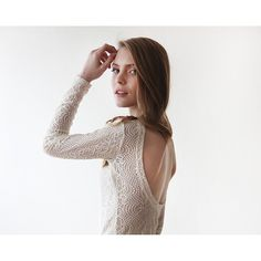Backless Ivory lace top with long sleeves