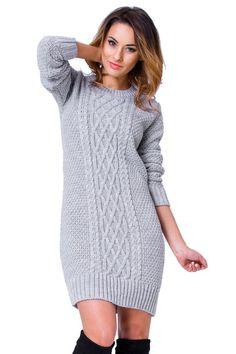 Women s Long Sleeve Knit Jumper Dress Sweater Stretchy