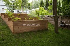 Great garden box for hillside.  The State of the Garden (A Tour) July 2013 FoodforMyFamily.com