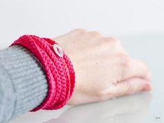 crochet wrap bracelet, necklace combo