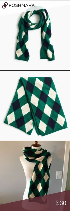 "J.CREW ARGYLE SCARF *NWT* Cozy wool-blend scarf in a classic argyle print.  63"" x 8"" Accessories Scarves & Wraps"