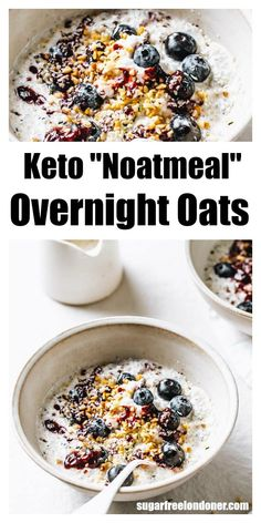 Keto overnight oats taste just as creamy and satisfying as regular overnight oats, just without all the carbs and sugars. This easy low carb noatmeal breakfast recipe is grain and gluten free and will keep you going until lunch. Keto Foods, Ketogenic Recipes, Keto Snacks, Low Carb Recipes, Cooking Recipes, Ketogenic Diet, Low Carb Granola, Keto Diet Breakfast, Breakfast Recipes