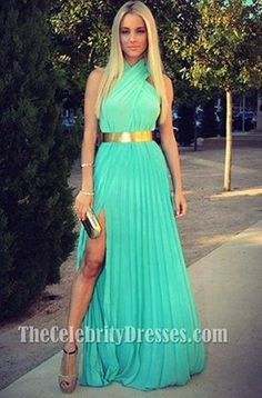 Celebrity Inspired Halter Chiffon Prom Gown Evening Formal Dresses - TheCelebrityDresses