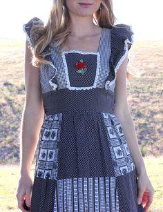 Vintage 1970s Hippie Dress Long Patchwork Prairie Rose Maxi Dress in Black & White . Size XS. $77.00, via Etsy.
